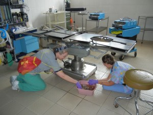 Kathy Hammer and Gloria Tessdell scrub OR table
