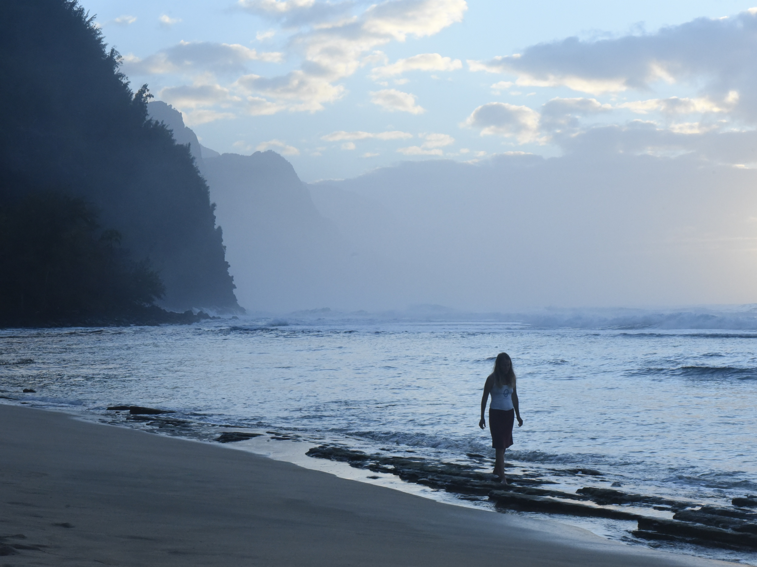 """""""Unexpected"""" This is on Ke'e beach with the Napali Coast in the background."""